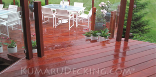Rain is no problem for Kumaru Decking. The deck surface will remain safe with an all natural slip-free surface.